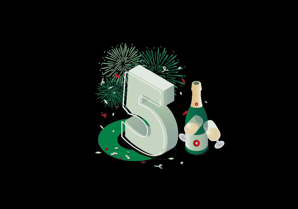 Illustration 5 Jahres Jubiläum